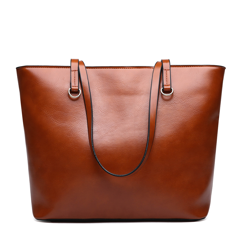 2Pcs/Set Large Handbag With Solid Pocket Leather Tote Bag Female Small Shoulder Bag Purse
