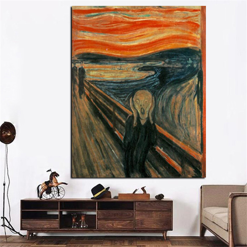Digital HD Prints Edvard Munch Scream Abstract Oil Painting on Canvas Art Poster Wall Picture for Living Room Home Cuadros Decor