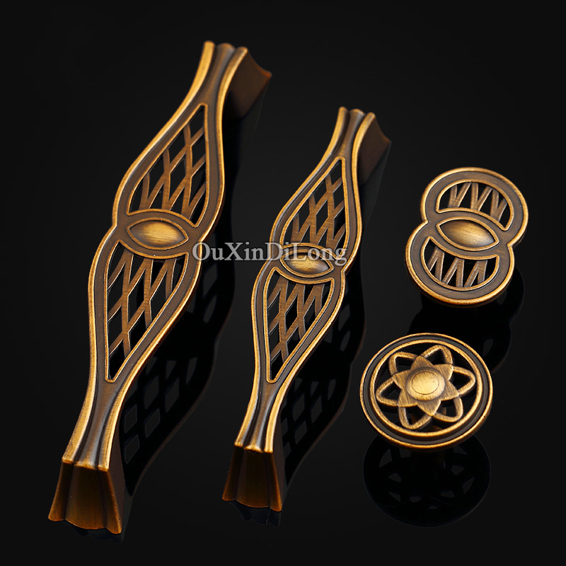 HOT 10PCS European Antique Kitchen Door Furniture Handles Retro Vintage Cupboard Drawer Wardrobe Cabinet Pulls & Knobs