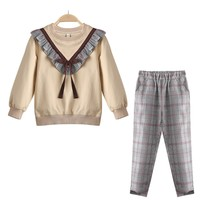 Girls Clothes Set Kids Boutique Outfits Autumn 2019 New Fashion Childrens Plaid Trousers Teenage 2Pcs Girls Clothing 10 12 Years