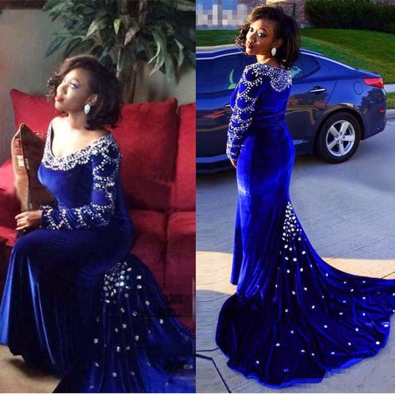 Luxury Arabic Mermaid Evening Gowns Royal Blue Velvet -8286