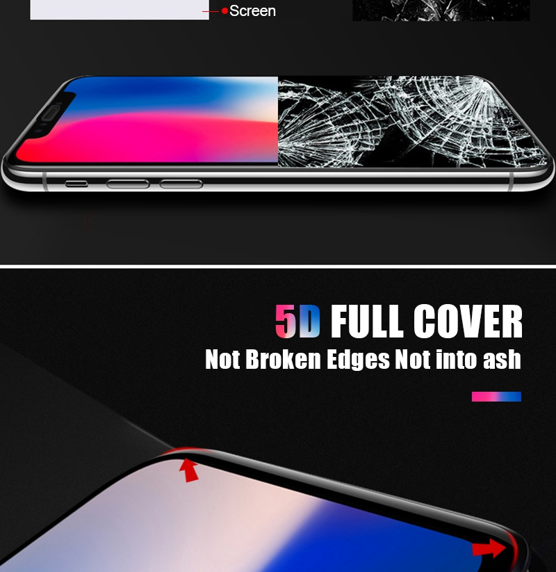 Artisome Glass on the For iPhone 6 6s Screen Protector 6D Edge Full Cover Protective Glass on the For iPhone X 10 7 8 Plus       (3)