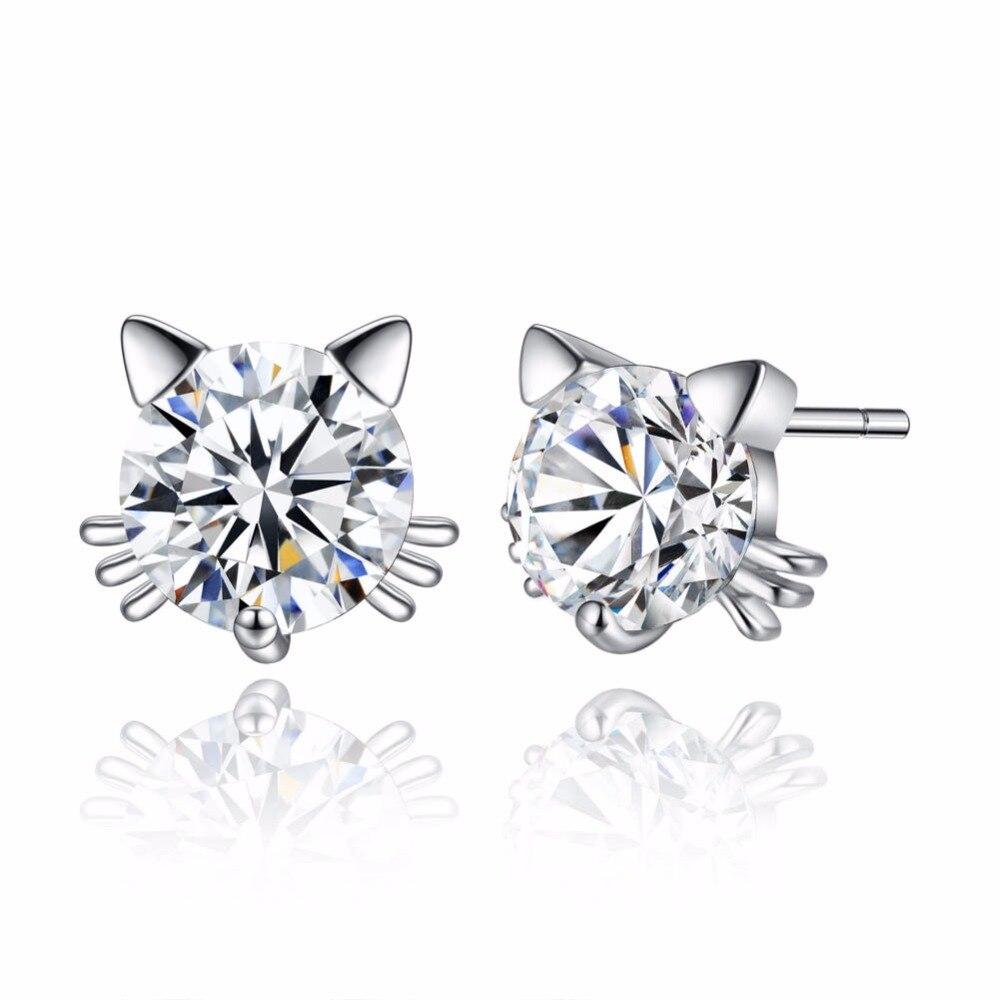 White Copper Zircon Animal Cute Cat Stud Earrings For Women Girls Western Style Earrings Fashion Jewelry For Best Love Gifts