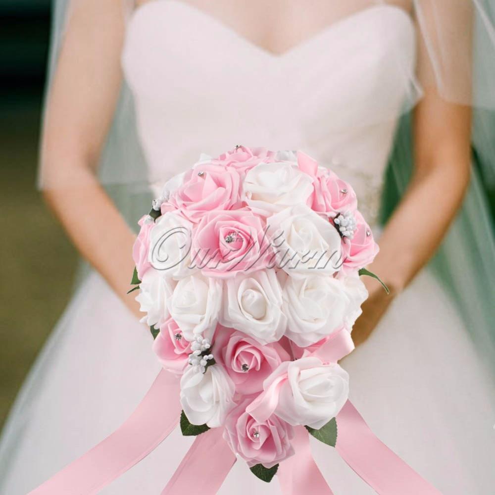 Aliexpress buy ourwarm many color teardrop wedding bouquet getsubject aeproduct izmirmasajfo
