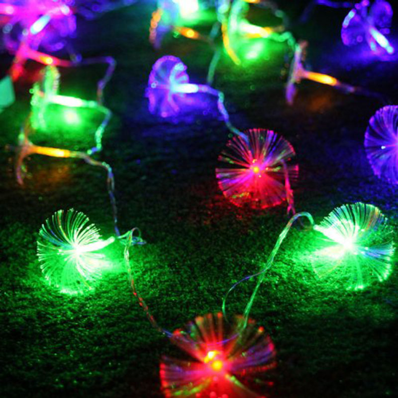10 Leds Morning Glory Fiber Optic Battery LED String Strip Night Light Lamp CHRISTMAS WEDDING Decration