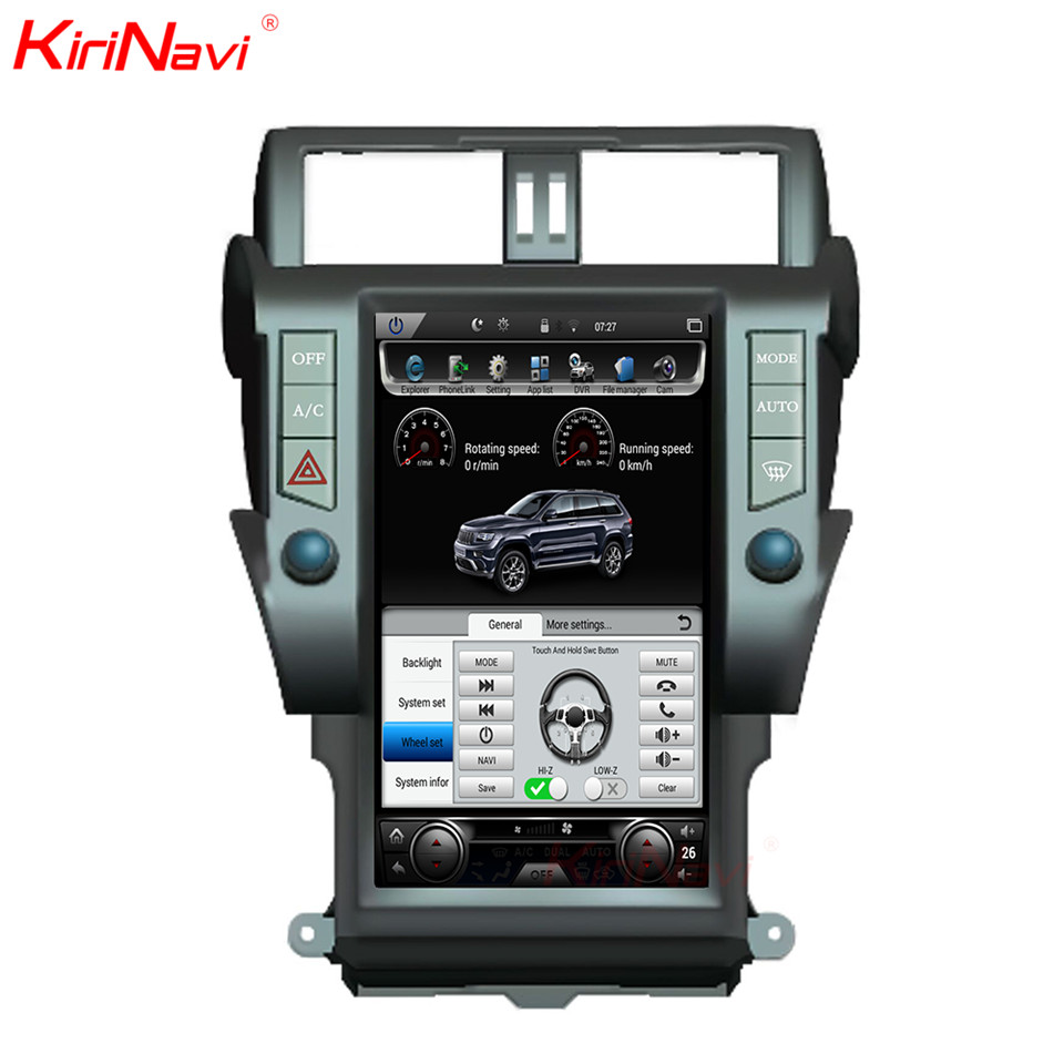 KiriNavi Vertical Écran Tesla Style Android 6.0 13.6 Pouce De Voiture Radio Pour Toyota Prado Gps Navigation DVD Lecteur 4G 2010-2017