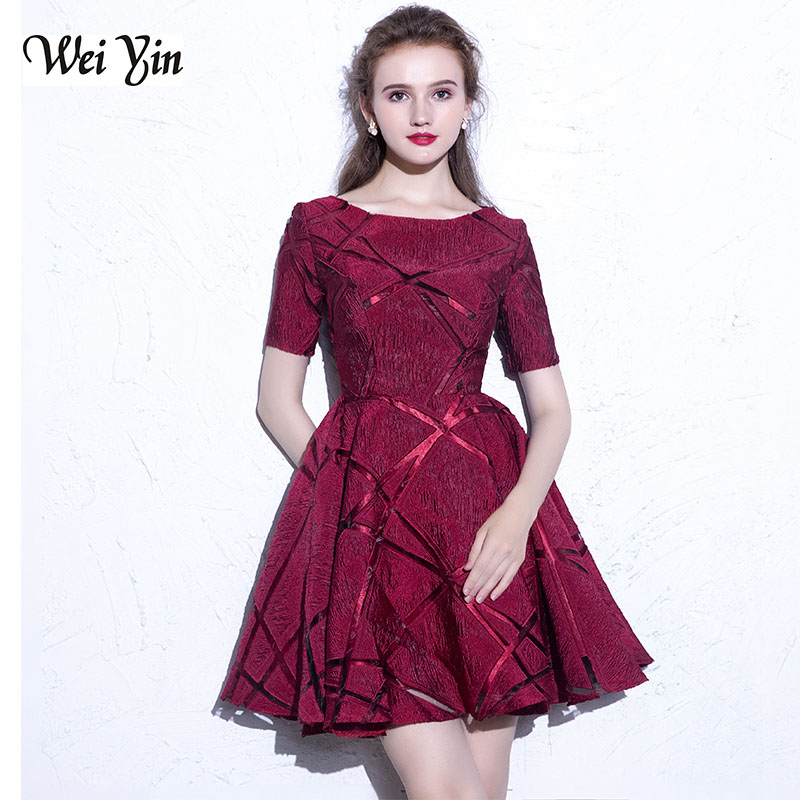 WEIYIN Short Prom Dresses 2020  High Quality Wine Red Lace Real Photo Fashion Sweetheart Party Gown Dresses With Short Sleeve