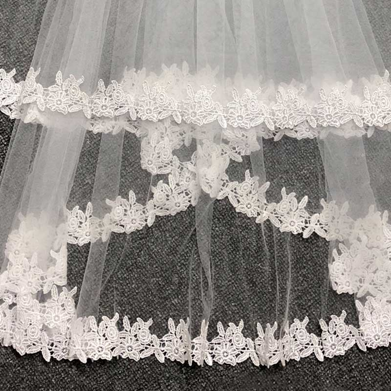 JIERUIZE In Stock Lace White Two Layers Wedding Veils Ribbon Edge with Comb High Quality Wedding Accessories Short Bridal Veil 3
