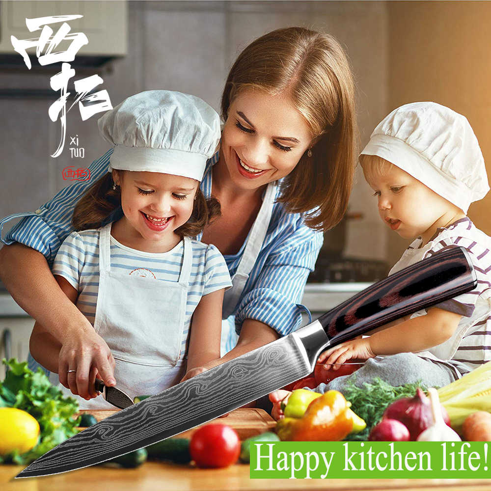 """Высококачественные 8 """"дюймовые кухонные ножи повара имитация дамасской стали кухонные ножи santoku острый нож для нарезания ножей Подарочный нож"""