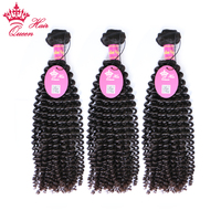 Queen Hair Products Kinky Curly Brazilian Virgin Hair Weft 3 Bundles Deal Natural Color 100% Human Hair Weaving Free shipping