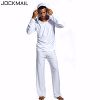 JOCKMAIL Mens Sexy Silk Hooded Costumes Male Fitness Suit Pajama Sets Pullover Sleepwear Homewear Hot Pyajama