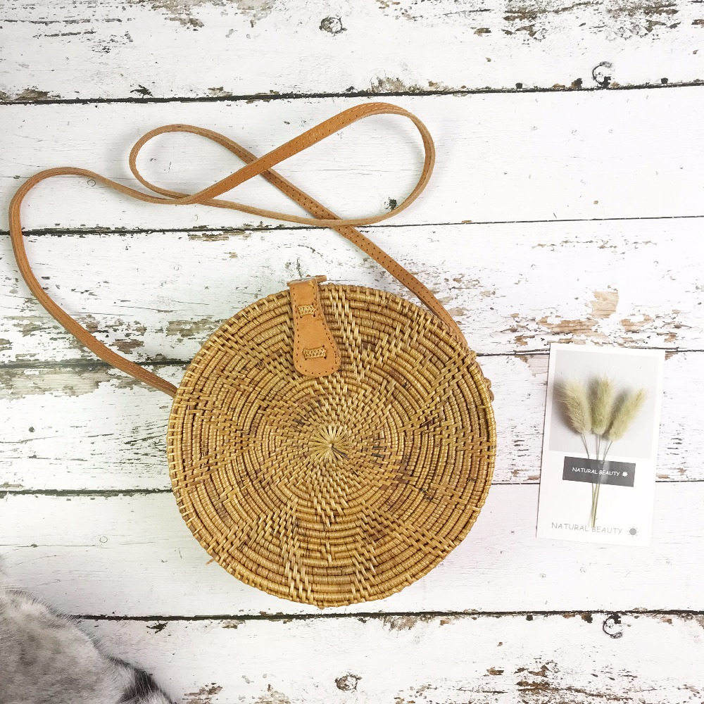 ZHIERNA  Summer Vintage Handmade Crossbody Leather Bag Round Straw Beach Bag Girls Circle Rattan bag Small Bohemian Shoulder bag