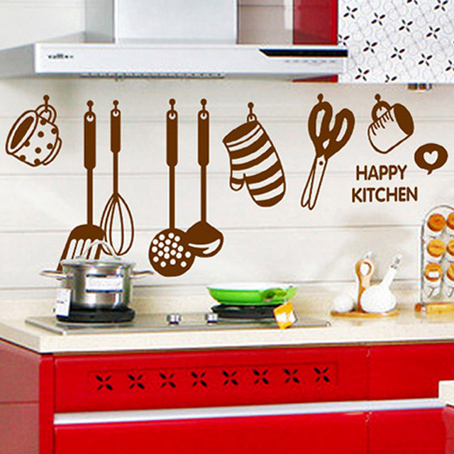 New DIY Removable Happy Kitchen Wall Decal Vinyl Home Wall Stickers Fridge  Wallpaper Quotes Stickers Wallpaper