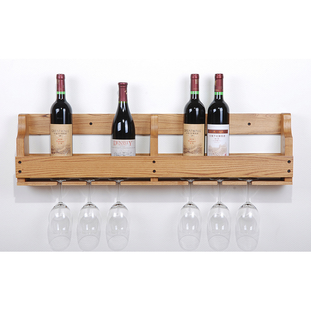 Wall Wine Racks Part - 41: Wine Rack Wall Hanging Cup Hanging Wall Wine Rack Oak Wood Wine Rack