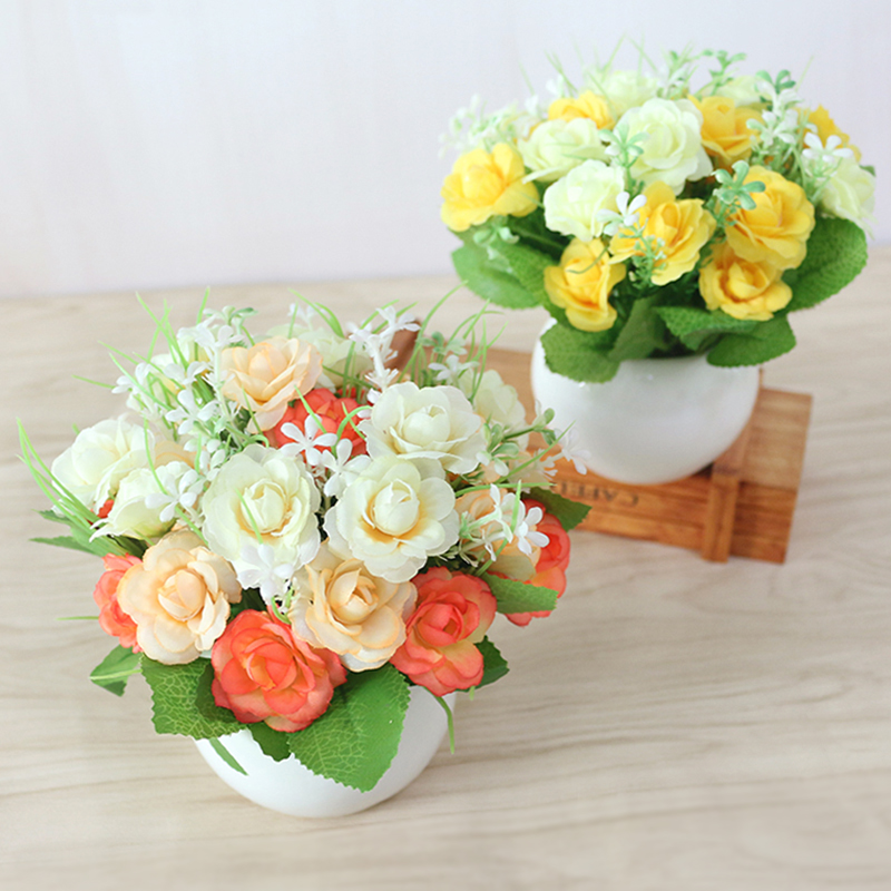 JAROWN Artificial Flowers Rose Quality Ceramics Vase +Silk Flowers Artificial Flower Set Home Decoration Home Flowers Decoration (67)