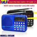 Al por mayor envío libre de fedex/DHL/UPS portátil mini pocket digital radio am fm con linterna LED y grabadora de voz
