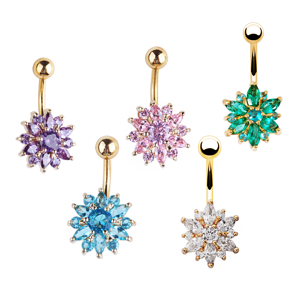 HTB1dlxYVYvpK1RjSZFqq6AXUVXag Navel Piercing Body Jewelry Crystal Flower Belly Button Ring