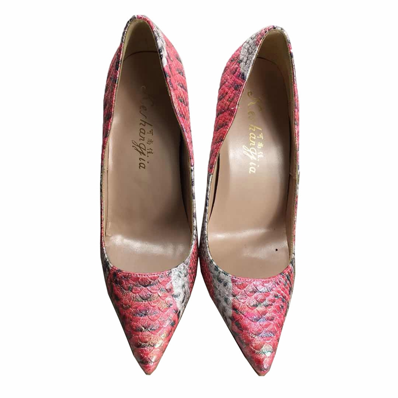 2018 Spring new PU leather women s high heels pumps wedding Mixed color serpentine pointed shallow