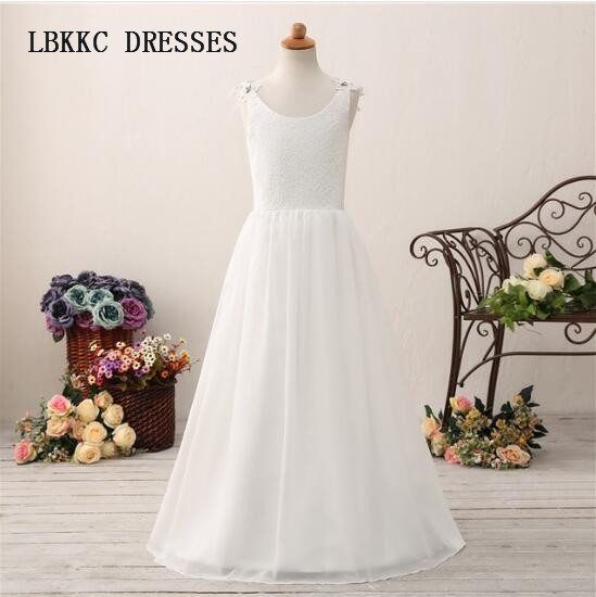 Elegant Simple Lace   Flower     Girl     Dresses   Floor Length A Line Communion   Dresses   For   Girl   Kids