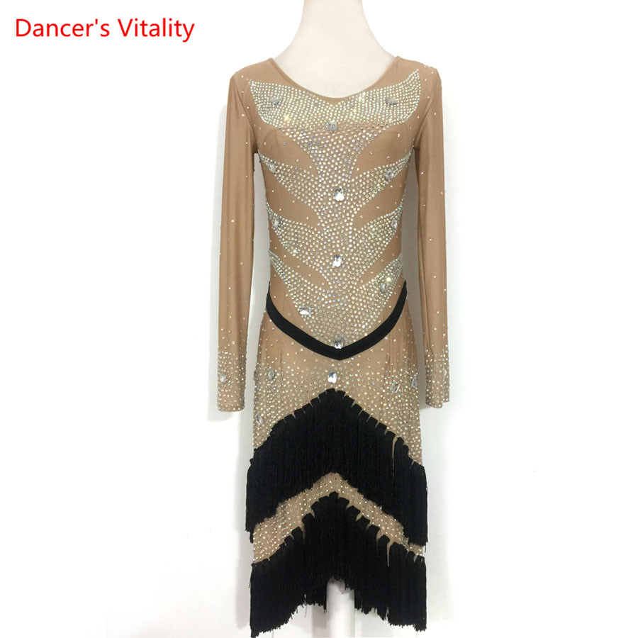 Custom High-quality Women Latin Dance Competition Clothing Girls Kids Latin Dance Dress Ballroom Dance Stage Performance Costume