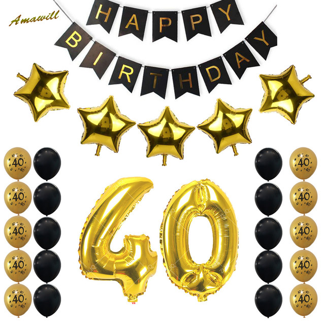 Online Shop Amawill 40th Birthday Party Decoration Kit Happy