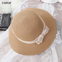 New Fashion Bow Tie Woman Sun Hats Wide Brim Foldable Hand Made Straw Hat Casual Woman