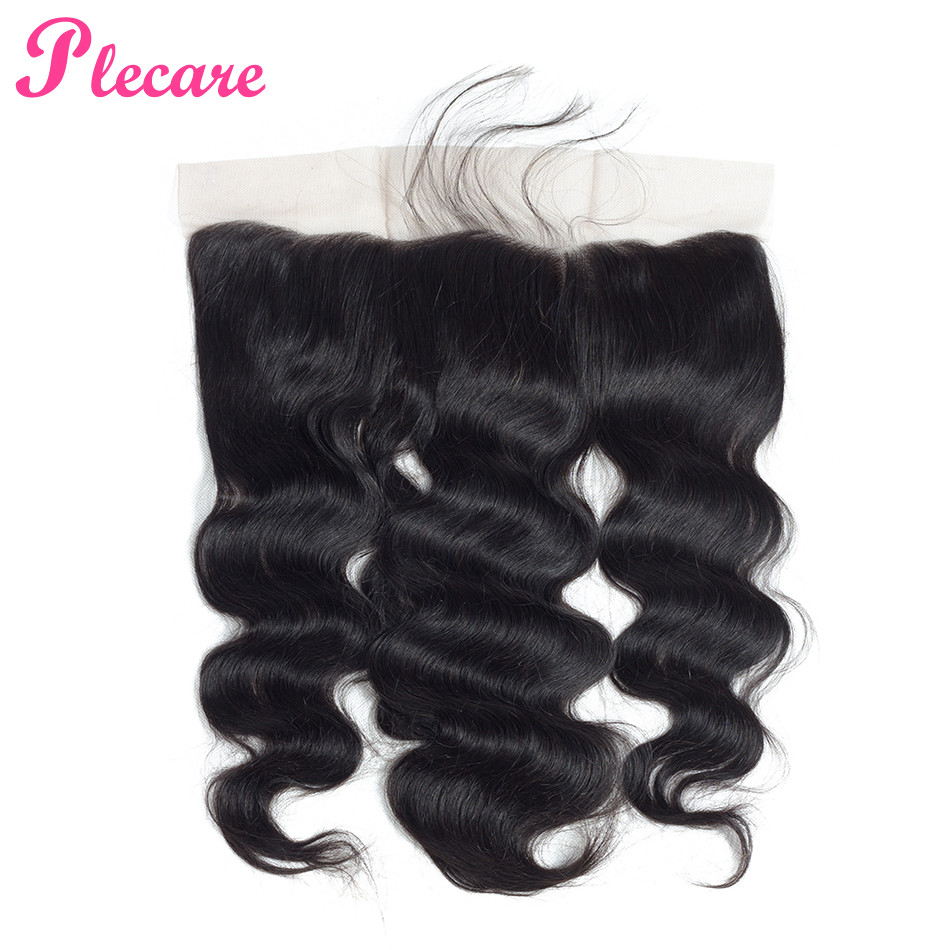 Plecare Lace Frontal Brazilian Body Wave 13*4 Lace Frontal Closure 1 Pcs Natural Color Non-remy 100% Human Hair Extensions