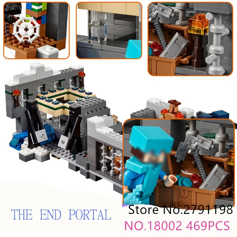 LEPIN 18002 469pcs Model Building Kit Blocks Bricks of My world And at the end of the portal Compatible with legoied 21136 gift the ocean at the end of the lane