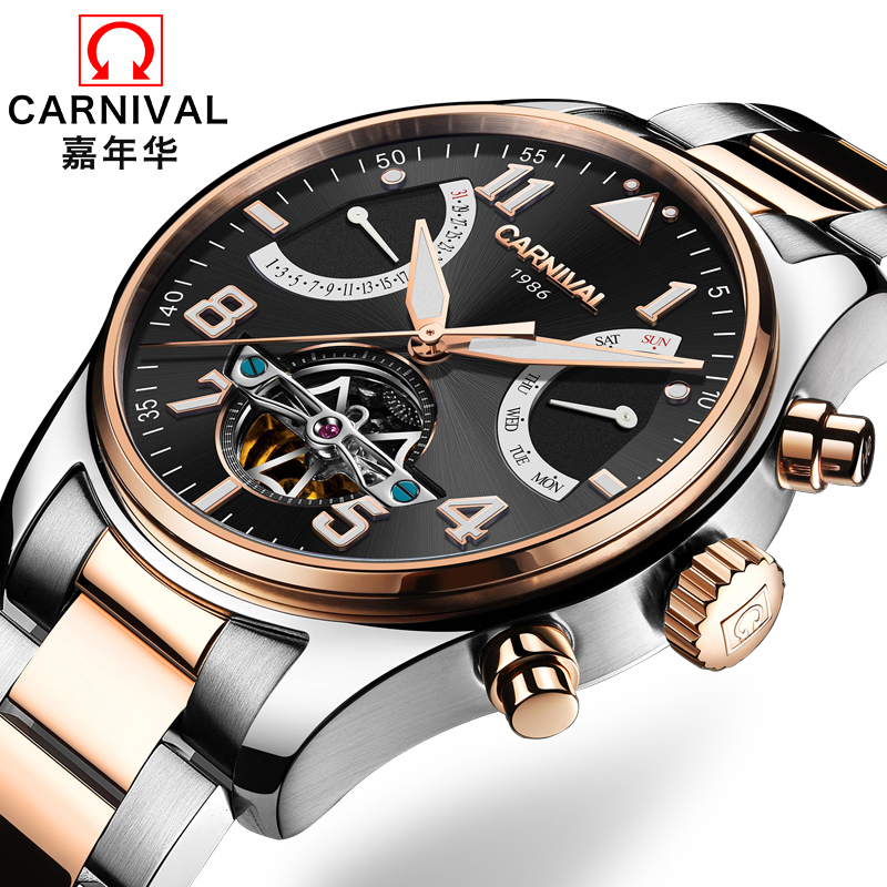 Switzerland Carnival Brand Luxury Mens Watches Multi-function Watch Men Sapphire reloj hombre Luminous relogio Clock C8783-5