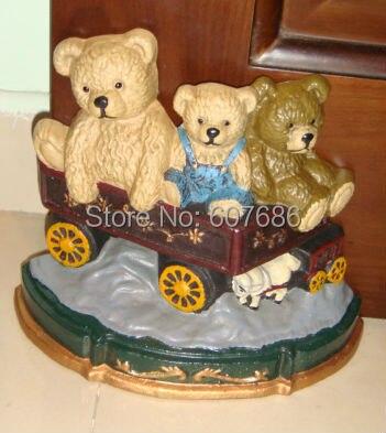 Fonte trois ours sur porte de chariot arrêt de porte pour enfants fille garçon enfants bébé chambre étude chambre décoration main peinture