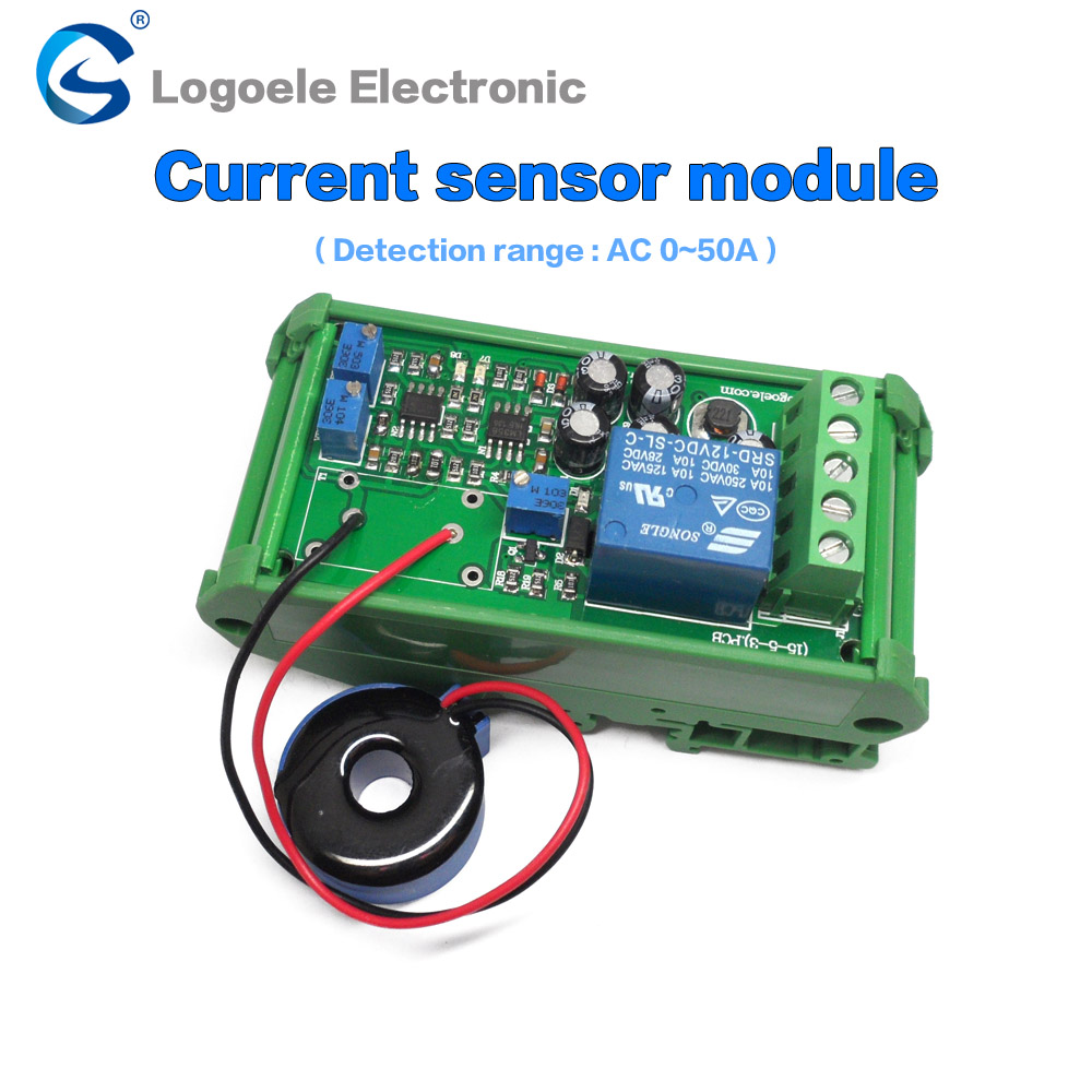 High quality AC current sensor module Switch output DC24V AC 0-5A/10A/20A/50A/100A full range of linear detector free shipping band shell 0 5a ac current sensor to detect the full range of linear output delay