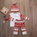 Sistemas de la ropa 2016 de Primavera y Otoño de los bebés ropa casual 3 unids (Sombrero + pantalones de la Camiseta) niños bebés ropa