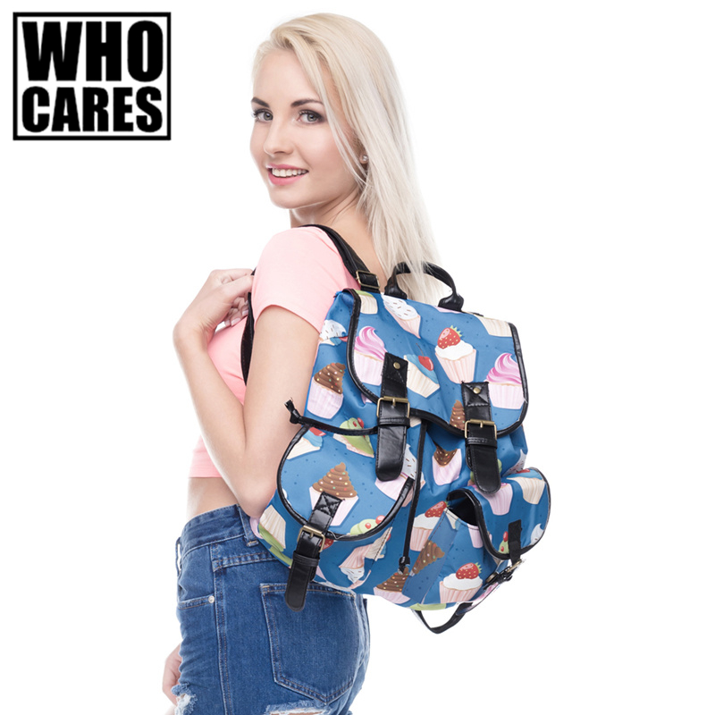 Muffin Cartoon Printing leather backpack vintage backpack women 2017 mochila school bags for teenagers sac a