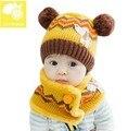 Тепла! 2015 новинка милый ребенок животных шерсть шляпа мальчики и крючком берет детей шляпа + шарфы 2 компл. бесплатная доставка