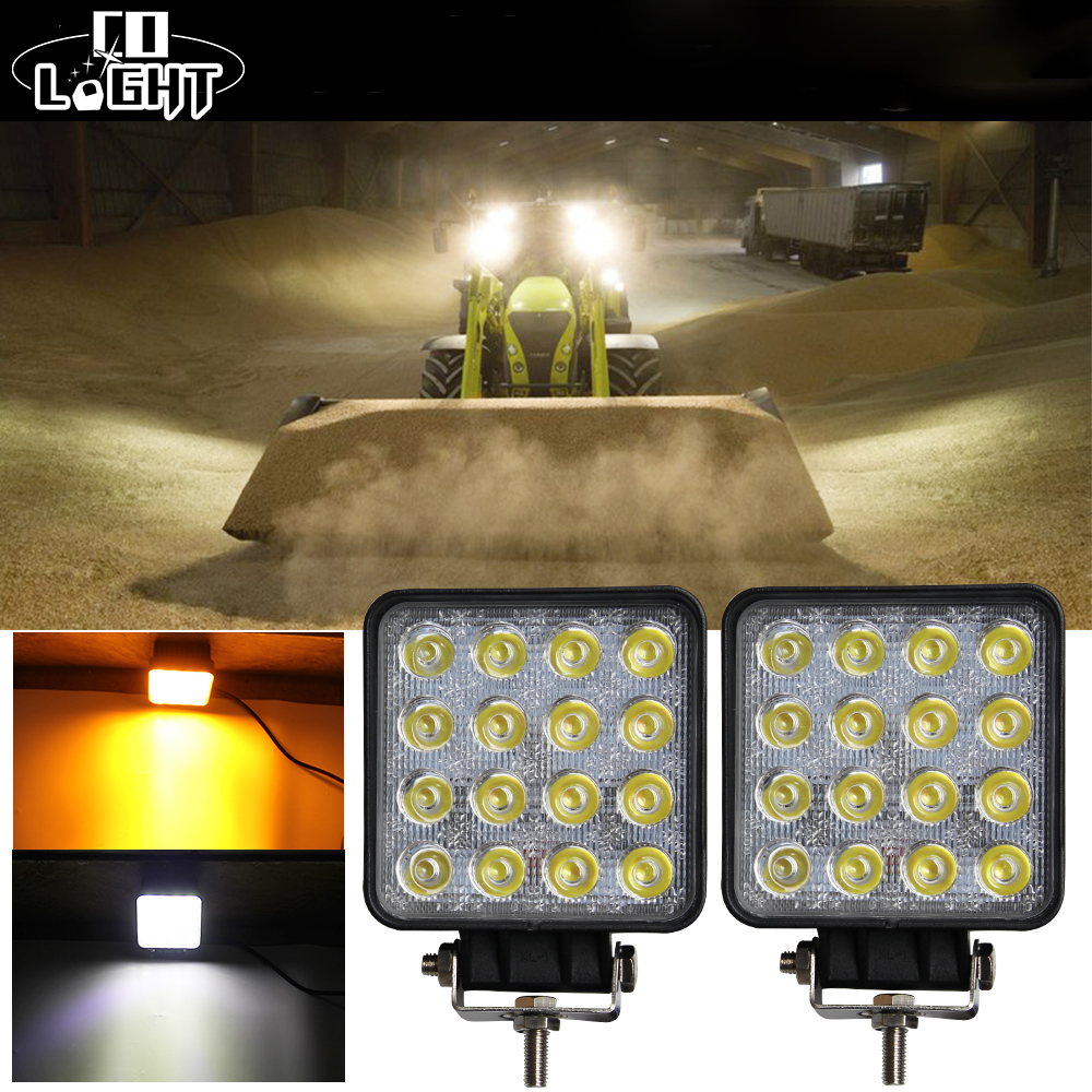 Fog Lamps for Cars 48W Additional Lights 4.3'' Inch 4X4 Led Car Light Work Light Double Color 6500K 3000K Amber White 9-32V DC diy 10w 6000 6500k 800 900lm white light 9 led module dc 9 11v 3 pack