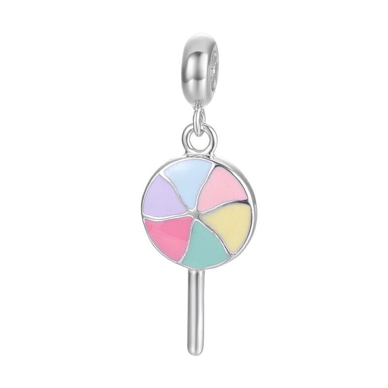 Colorful Lollipop Design Popular With Young Girl Best Gift Enamel Craft 925 Sterling Silver Bracelet nice handmade Pendant Charm