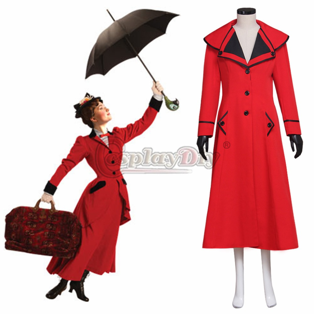 Cosplaydiy Custom Made Mary Poppins Women Red Vision Jacket  Cosplay Costume Women Adult Punk Jacket