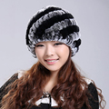 2017 Handmade Mais Recente Moda feminina Real Malha Rex Rabbit Fur Chapéus Lady Inverno Quente Charme Gorros Caps Chapelaria Feminina VK0318