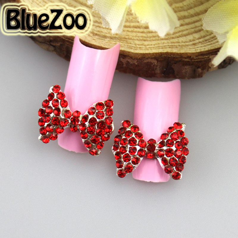ФОТО BlueZoo 100pcs/pack Alloy Red Big Bow Tie 3D Nail Art Rhinestones Decoration Glitters Slices Makeup Tips Nail Stud 15mm*12mm