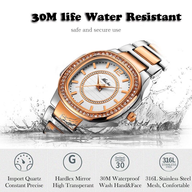 Image 4 - MISSFOX montre en or Rose femmes montres à Quartz haut pour femme marque de luxe en acier inoxydable femme montre bracelet fille horloge dorée heuresMontres femme   -