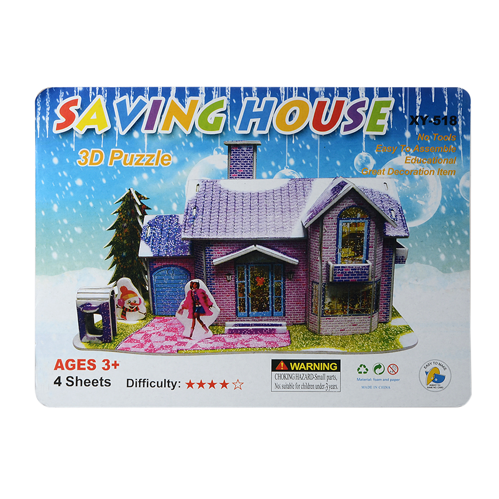 Baby Kid Saving House Jigsaw Puzzle Board 3D Jigsaw Puzzle Children Education Toy Early Educational Funny Cartoon 3D Puzzle toys