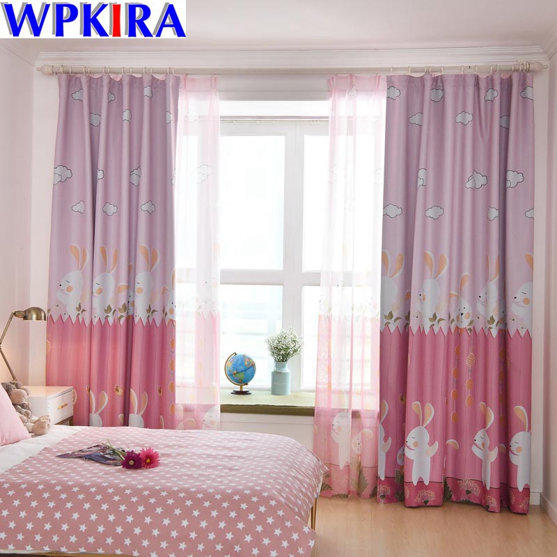 Us 5 67 30 Off Rabbit Pink Kids Curtain Fabric Cartoon Green Window For Children Princess Bedroom Nursery Wp116 In