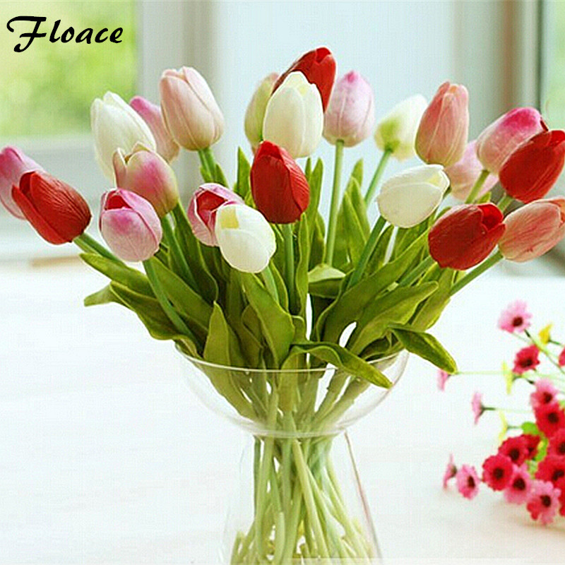 31pcs/lot Tulip Artificial Flower 2017 PU artificial bouquet Real touch flowers For Home decoration Wedding Decorative Flowers