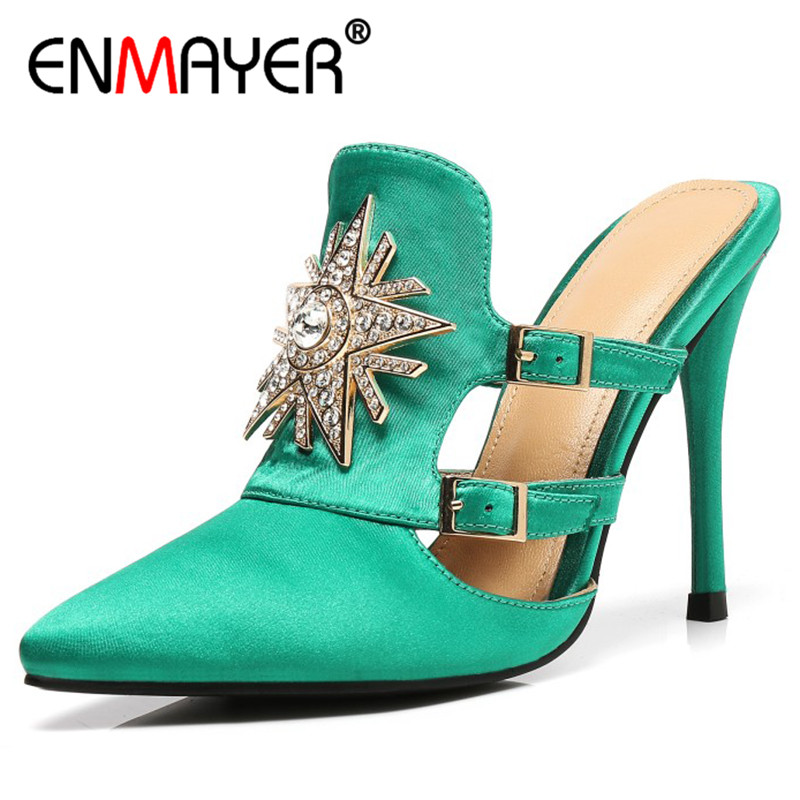 ENMAYER Sandals Pumps Shoes Woman High Heels Pointed Toe Party Wedding Shoes Plus Size 34-43 Summer Sandals Shoes Open Toe plus size 2017 new summer suede women shoes pointed toe high heels sandals woman work shoes fashion flowers womens heels pumps