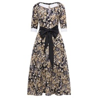 Sisjuly Vintage Dress Women Spring Floral Print Long Sleeve O Neck Elegant A Line Party Dress