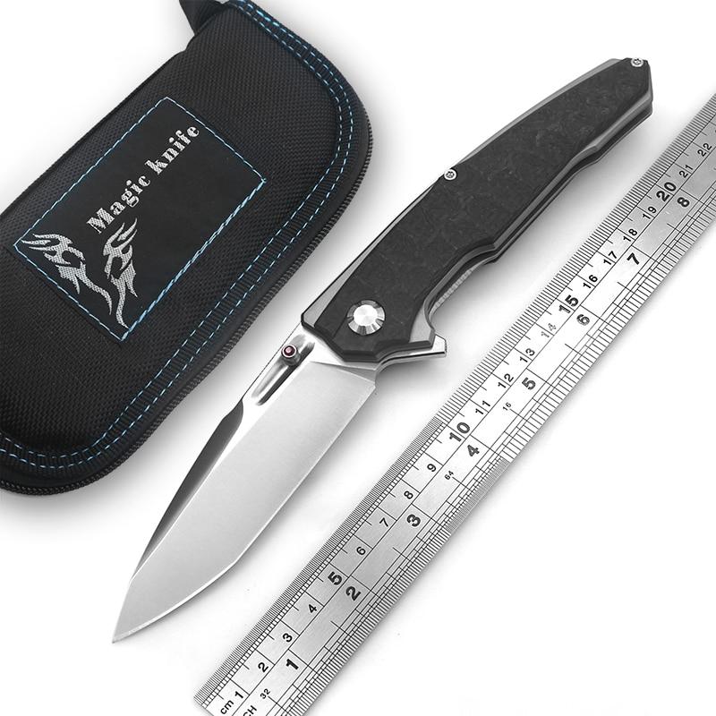 MAGIC KNIFE Anonymou Ball Bearing Flipper Folding Knife D2 Blade Titanium+carbon Fiber Handle Camp Tactical Outdoor Knives Tools