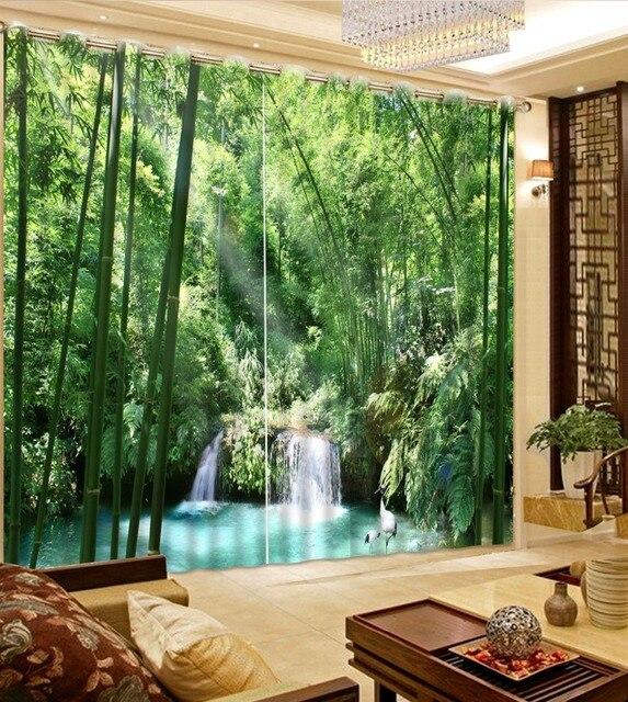 Moderne blackout 3d vorhang bambus wasserfall fenster - Schlafzimmer bambus ...