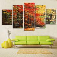 Stampa su tela Pittura 5 pezzi albero in autunno Pittura HD Stampato Picture for Living Room home Decor Parete Picture Art