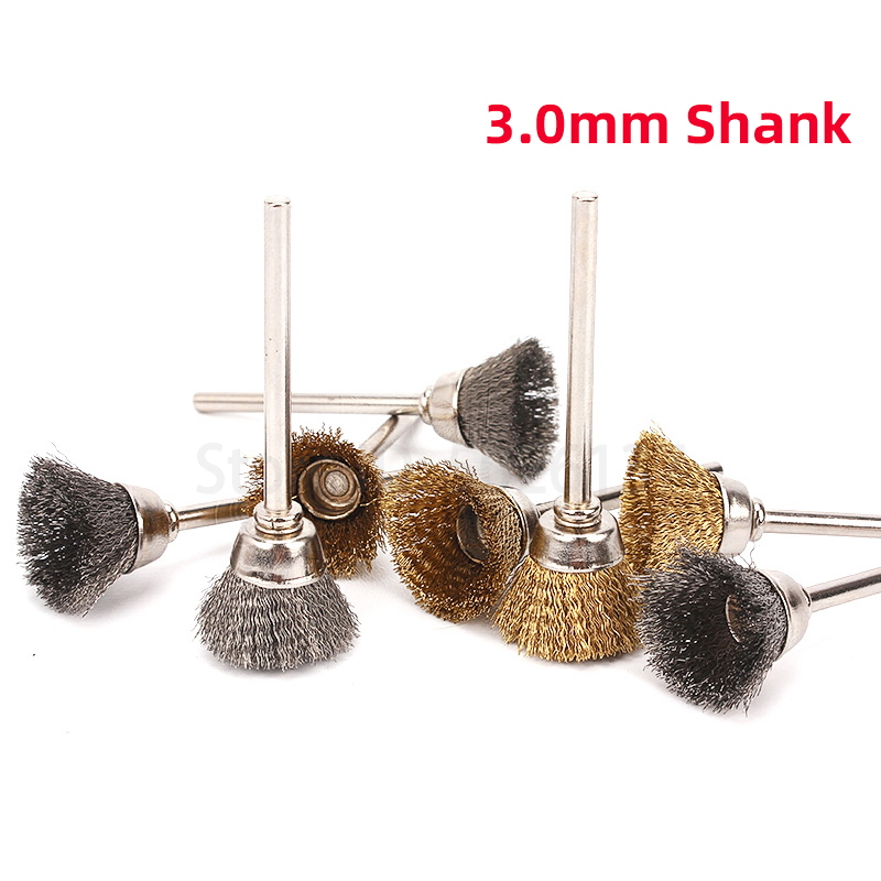 2Pcs 16MM U-shaped Brass Brush Wire Wheel Brushes Die Grinder Rotary Electric Tool For Engraver Steel Polishing Grinding