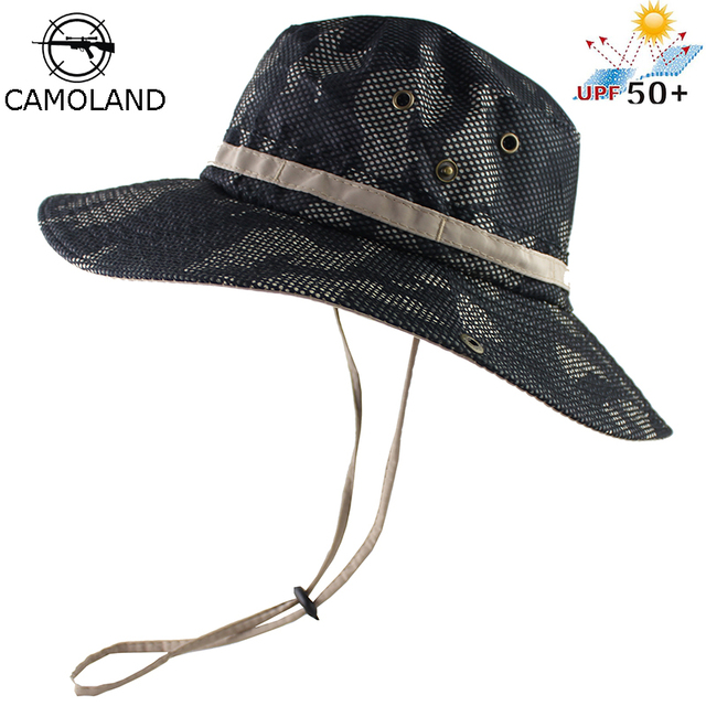 283ccb9a UPF 50+ Bucket Hat Men Women Outdoor Boonie Hat Summer Sun UV Protection  Camouflage Cap Military Army Fishing Tactical Wide Brim